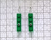 Green Earrings made with LEGO (R) and Swarovski Crystal