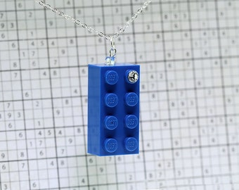 Blue Necklace Pendant made LEGO (R) and Swarovski Crystal