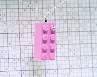 Pink Necklace /Pendant made with LEGO (R) and Swarovski Crystal