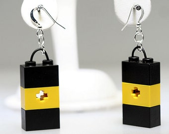 Black  and Yellow Earrings made with LEGO (R)