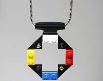 Pendant Necklace made with LEGO (R) and Swarovski Crystals