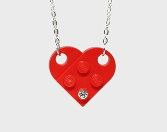 Red Heart Pendant Necklace made with LEGO (R) and Swarovski crystal