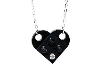 Black Heart Pendant made with LEGO(R) and Swarovski crystal