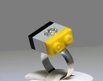 Black, Grey and Yellow Ring  with Silver Heart Center made with LEGO (R)