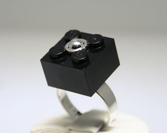 Black Ring with Silver Center made with LEGO (R)