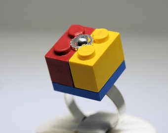 Yellow and Red Ring with Silver Center made with LEGO (R)