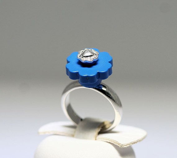 Blue Flower Ring with Silver Heart Center made with LEGO (R)