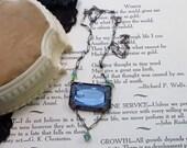 Antique Art Nouveau Art Deco Etched Blue Crystal Necklace Paper Clip Chain