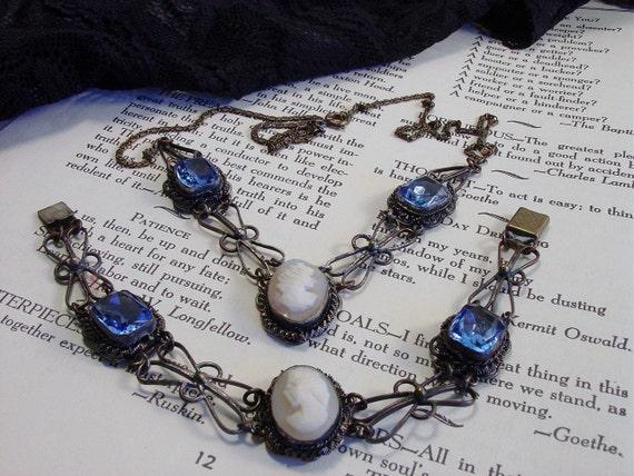 Antique Cameo Necklace Bracelet 800 Silver Blue Glass