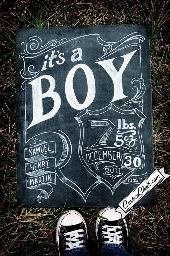 Personalized birth announcement chalkboard sign - permanent artwork - it's a boy - it's a girl