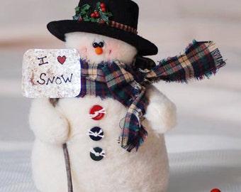 Snowman with Top Hat & Snow Shovel