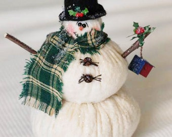 Snowman with Holly and a Bird House