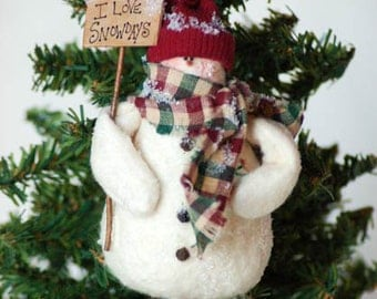 Snowman Ornament with I Love Snow Days Sign