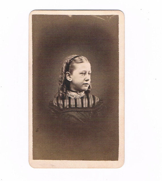 CDV Carte De Visite Photograph of Post Civil War 1870's Little Wearing Swiss Waist Over a Striped Dress
