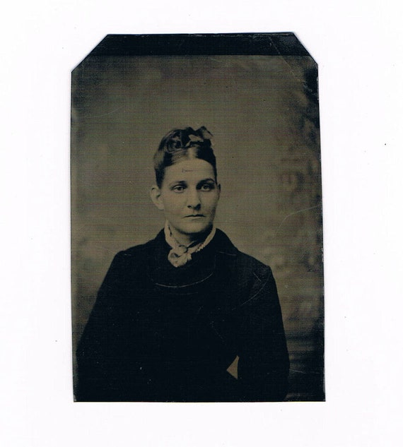 1880's Tintype Photograph of Victorian 19th Century Woman