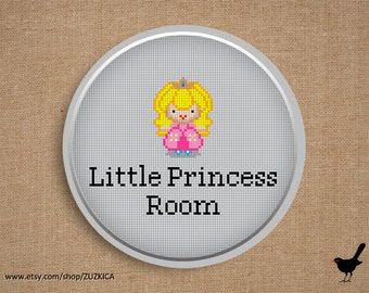 Cross stitch pattern: Little Princess Room Sign