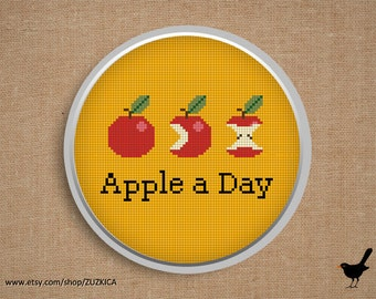 "Cross stitch pattern: ""An apple a day keeps the doctor away"""