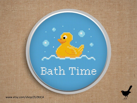 Cross stitch pattern: Bath Time Sign with yellow Duck
