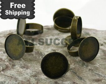FREE SHIPPING---50pcs Antique Bronze Adjustable Ring Bases,blank setting With inside diameter 20mm Bases,Lacework Round Base