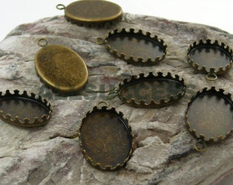 FREE SHIPPING--30pcs Antique Bronze Oval Pendant Bases,blank Cabochon size 18x25mm Bases,Oval imperial crown Pendant Base