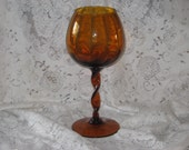 "Vintage Amber Glass Vase -13""  Brandy Snifter Thanksgiving Decoration"