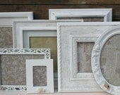 7 Frame Set - Hand Painted White - Beach Cottage Shabby Chic with Glass and Backings