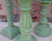 Candle Holder Set of 3   Cottage Green Shabby Chic
