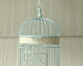 Decorative Bird Cage Hand Painted Pastel Turquoise with Off-white Bands