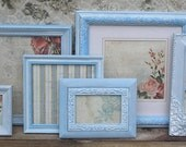 7 Frame Set - Hand Painted French Blues - Beach Cottage Pink Rose Shabby Chic with Glass and Backings