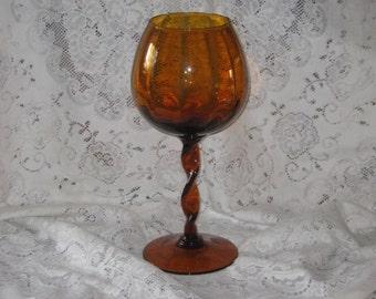 "Vintage Amber Glass Vase -13""  Brandy Snifter Thanksgiving Decoration"