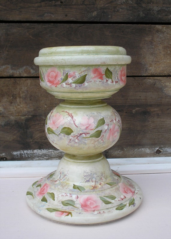 Hand Painted Wood Candle Holder Cottage Pink Roses  Shabby Chic