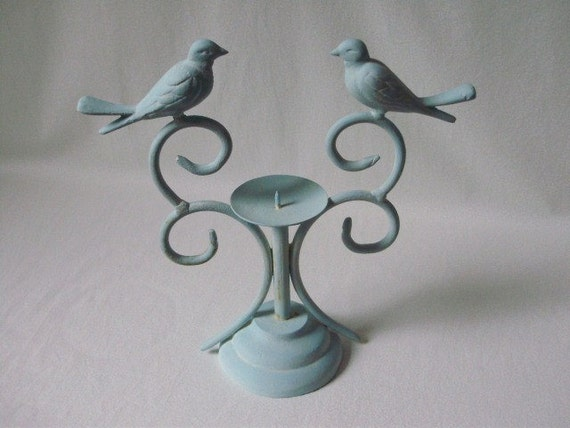 Metal Bird Candle Holder Handpainted French Blue Antiqued with White