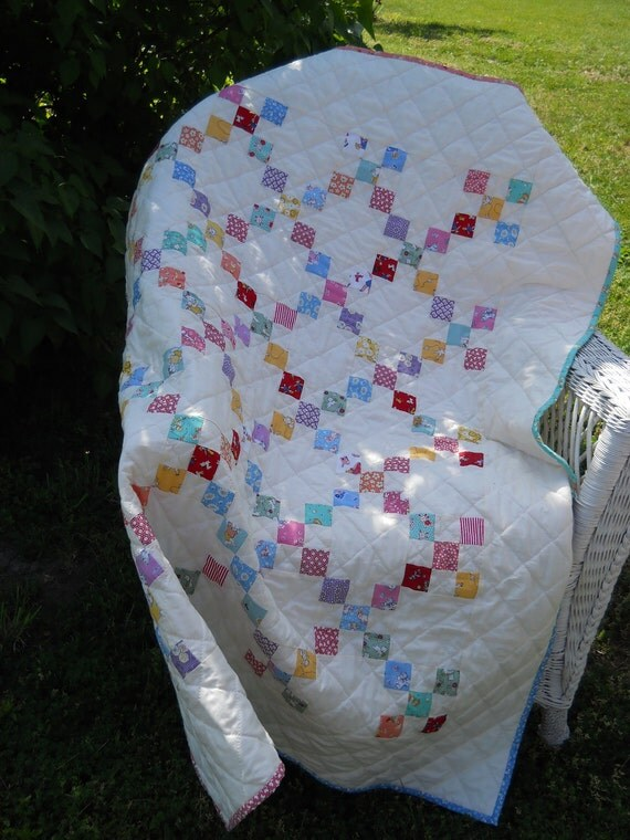 "OH BABY BABY 1930""s Reproduction fabric 9 Patch Baby Quilt-- Free Shipping"