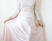 SALE Vtg 70s Satin Pale Pink Pastel Midi Skirt Medium