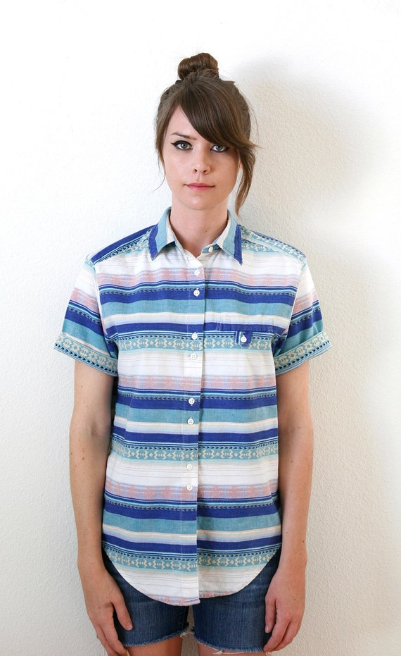 Southwest Inspired Blue, Green, White  Striped Shortsleeve Button Down Shirt