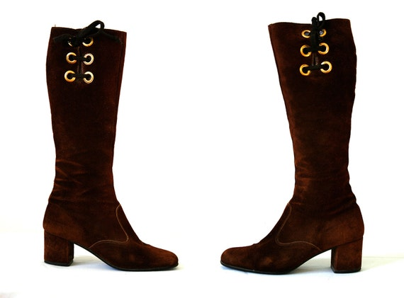 60s Boho Gogo Boots Brown Suede Knee High Bandolino Size US Women's 6