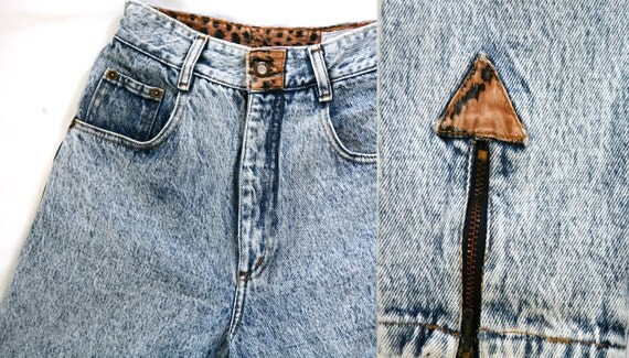 High Waist Acid Washed Jeans Ankle Zippers Leopard Print Trim Small Vintage 80s W25 x 26 1/2 INS