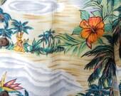 Vintage Hawaiian Shirt Aloha Hut Green Shirts Blue shirts Vintage menswear retro menswear hula girls beach hut hibiscus