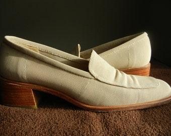 Vintage Stuart Weitzman Shoes Leather Canvas  Shoes Camel Loafers Retro Shoes Designer Retro Women's Summer Shoes Size 7.5 Shoes Accessories