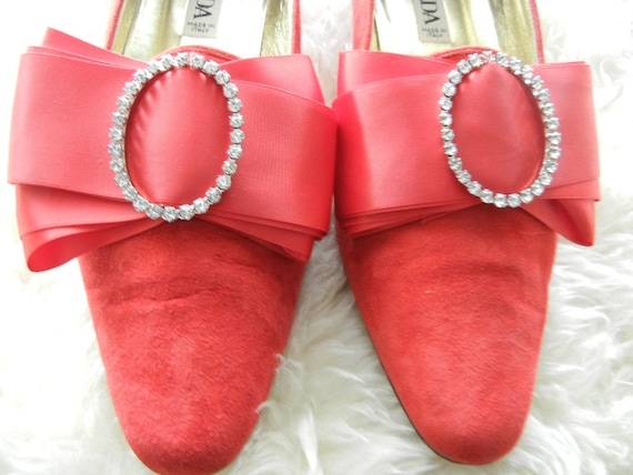 Escada Red Leather Suede Shoes with Huge Bow & Crystal Round Buckle
