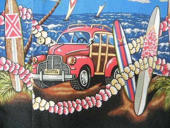 Vintage Hawaiian Shirt Vintage Cars Cotton Shirt Classic Cars Blue Shirt RJC Large Shirt Vintage Hot Rods Menswear Surfers Beach Bum 50s 60s
