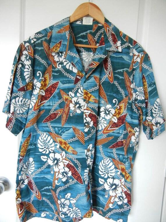 Aloha Republic Vintage Hawaiian Shirt, 1960s,100% Cotton, Made in Hawaii USA, Surf Boards, Beaches, Flowers, Palm Trees