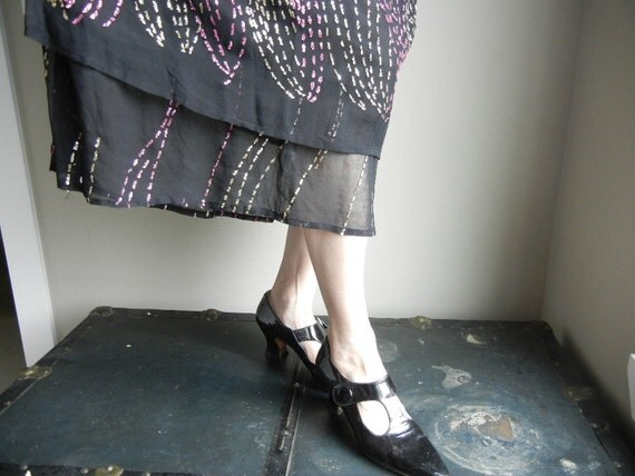Vintage French Design Black Silk Evening Dress with Gold and Pink Sequins Party Dress