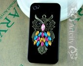 Vintage style crystal owl Iphone case - fit Iphone 4 and Iphone 4S