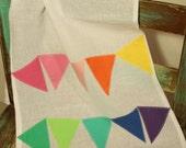 rainbow bunting tea towel