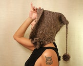 Rustic Charcoal Hand Knit Hat Ear Flap Beanie Knit Pixie Hat Hood Crochet Hat Scoodie Elf Hat Wool Alpaca Wood Buttons Winter Accessories