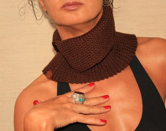 Hand Knit Tube Scarf, Knit Scarf, Knit Snood Scarf, Wool Scarf,  Neck Warmer, Brown Cowl Scarf, Pure Wool-Leather, Winter Accessories