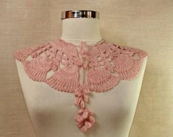 Pink Crochet Lace Collar Glitter Wedding Wrap Collar Bib Neck Cuff Collar Scarf Romantic Bridal Necklace Bride Cape Women Neck Accessory