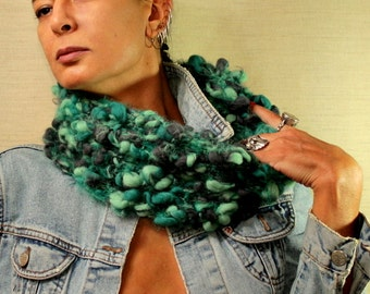 Cowl Scarf, Chunky Scarf, Tube Scarf, Neck Warmer, Men Scarf, Women Knit Scarf, Neck Cowl, Teal Forest Green Charcoal Loop Scarf Unique Gift