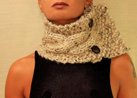 RESERVED  for Kaye1Reynolds  /  Knit Cable Scarf  Unisex Rustic Chunky / Alpaca Wool Neck Warmer / Fall Winter Fashion